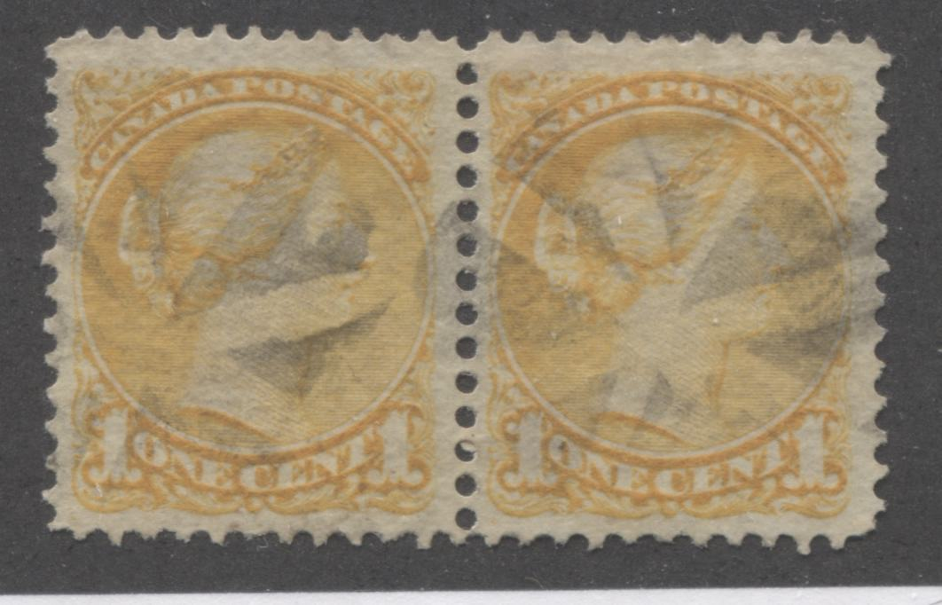 Canada #35i 1c Deep Yellow Queen Victoria, 1870-1897 Small Queen Issue, Very Fine Used Pair of the Late Montreal Printing, Perf. 12.25 Brixton Chrome