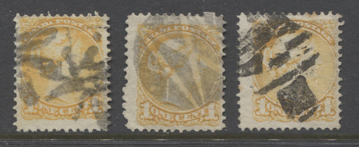 Canada #35i 1c Yellow Queen Victoria 1870-1897 Small Queen Issue Group of 3 Better Fancy Cancellations Brixton Chrome