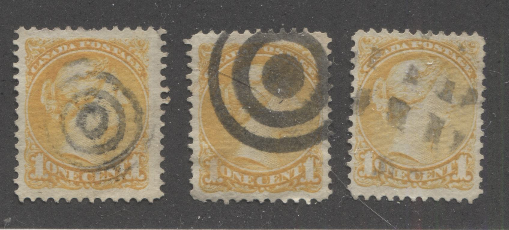 Canada #35i 1c Yellow Queen Victoria, 1870-1897 Small Queen Issue, Three Very Fine or Fine Used Examples of the Mid to Late Montreal Printing, Each a Different Shade or Paper, Perf. 12, Cancelled With Different Fancy Cancellations Brixton Chrome