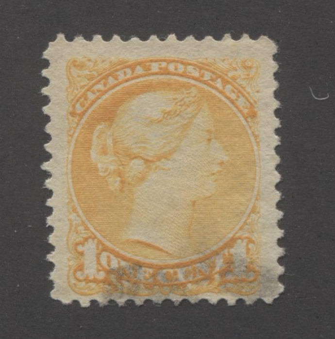 Canada #35ii 1c Orange Yellow Queen Victoria, 1870-1897 Small Queen Issue, Very Fine Used Single of the Late Ottawa Printing, Perf. 12 Brixton Chrome