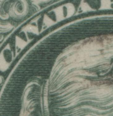 "Canada #36 2c Grass Green Queen Victoria, 1870-1897 Small Queen Issue, Very Good Used Single of the Early Montreal Printing With Re-Entry in ""N"" of Canada Brixton Chrome"