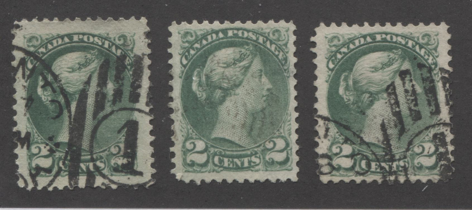 Canada #36 2c Green Queen Victoria, 1870-1897 Small Queen Issue, Two Very Fine and One Very Good Used Single of the Montreal Printing Brixton Chrome