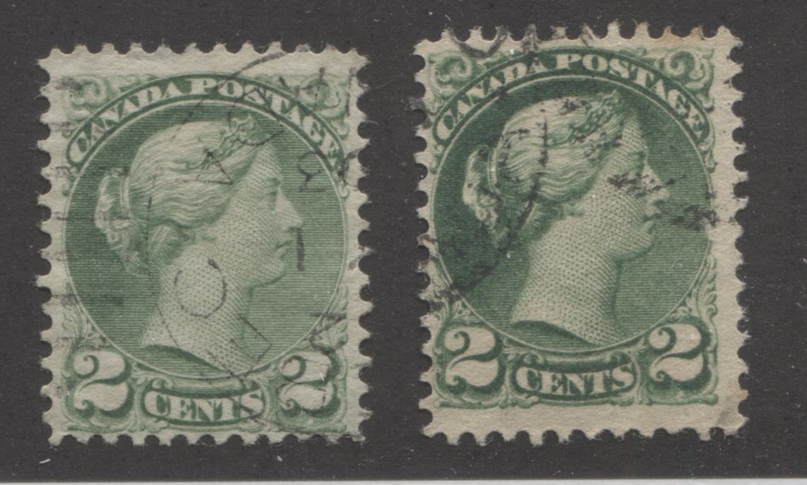 Canada #36, 36i 2c Pale Green and Grass Green Queen Victoria, 1870-1897 Small Queen Issue, Fine Used Examples of the Late Montreal and Second Ottawa Printings, Perf. 12 Brixton Chrome