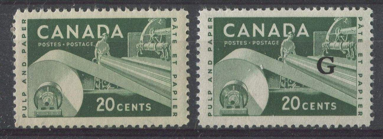 Canada #362, O45 (SG#488, O207), O45 20c Dark Green Paper Industy Wilding Issue 2 Different Papers VF-75 LH Brixton Chrome