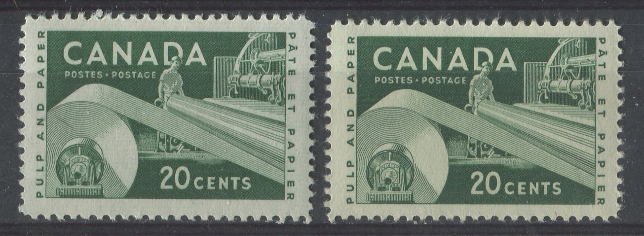 Canada #362 (SG#488) 20c Dark Green Paper Industry 1956-1967 Wilding Issue 2 Different Papers VF-80 LH Brixton Chrome