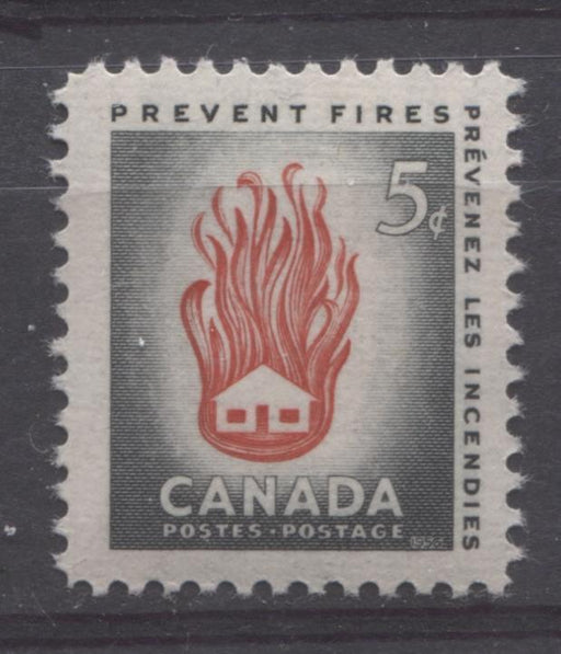 Canada #364 (SG#490) 5c Grey and Red House On Fire, 1956 Fire Prevention Week VF 75/80 NH Brixton Chrome