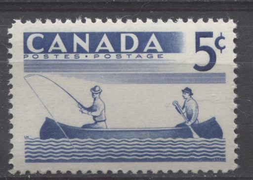 Canada #365 (SG#491) 5c Ultramarine Fishing 1957 Recreational Sports Issue VF 75/80 NH Brixton Chrome