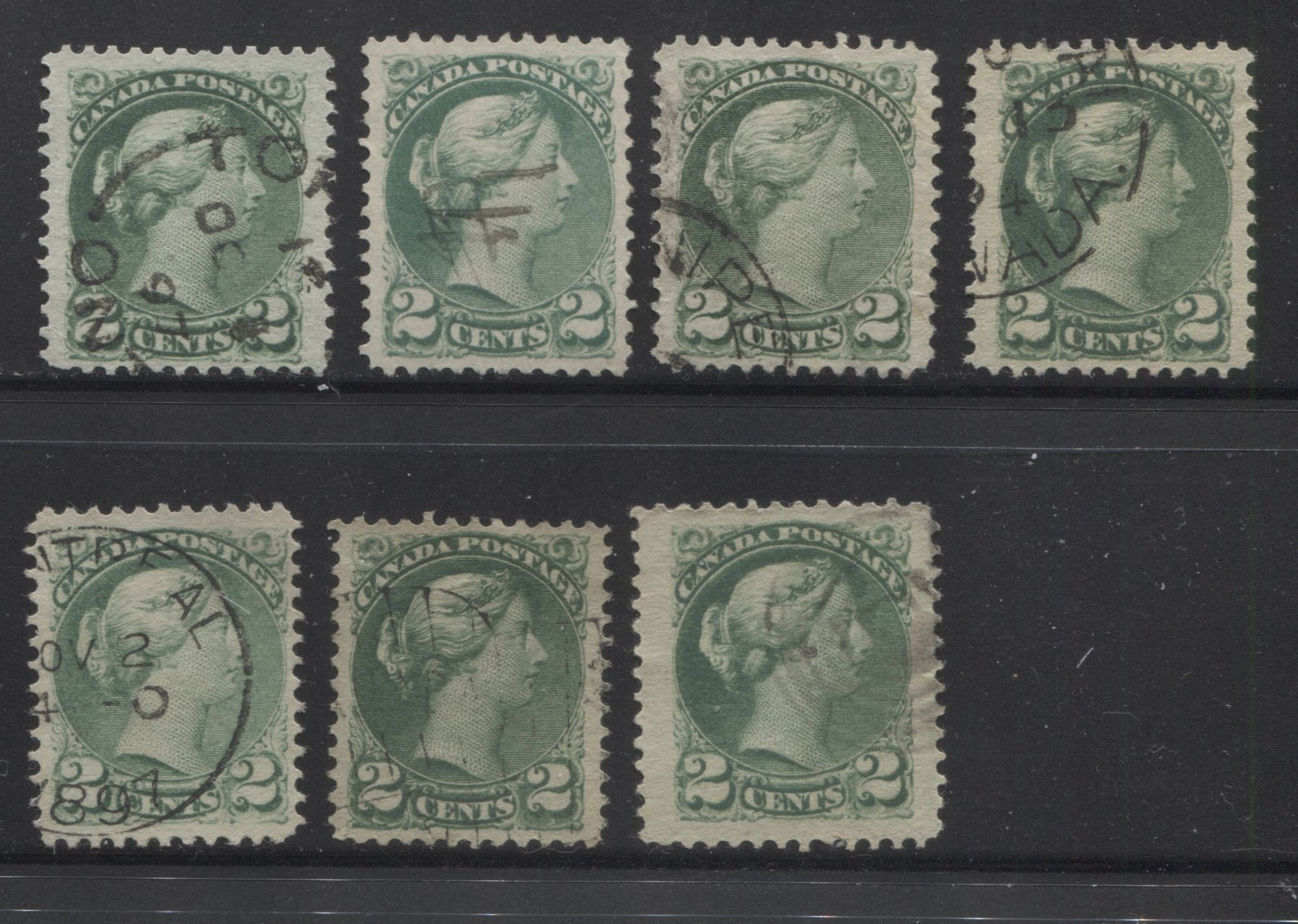 Canada #36i 2c Deep Green and Bluish Green Queen Victoria, 1870-1897 Small Queen Issue, Seven Mostly Very Fine Used Singles of the Second Ottawa Printing With Various Perfs and Papers Brixton Chrome