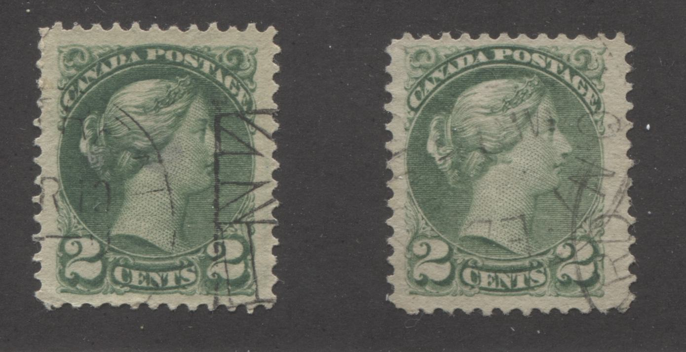 Canada #36i 2c Deep Green and Grass Green Queen Victoria, 1870-1897 Small Queen Issue, Two Very Fine Used Examples of the Second Ottawa Printing, Perf. 12 Brixton Chrome