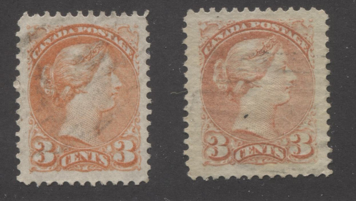 Canada #37, 37c 3c Dull Red and Orange Red Queen Victoria, 1870-1897 Small Queen Issue, Two Very Fine Used Examples of the Mid-Montreal Printing, Perf. 12.25 x 12 on a Different Paper Brixton Chrome