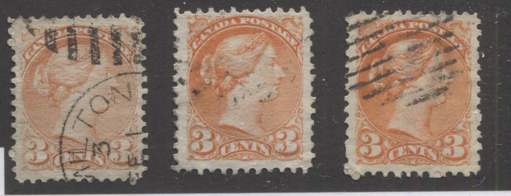 Canada #37, 37c 3c Orange Red & Dull Red Queen Victoria, 1870-1897 Small Queen Issue, Three Very Fine Used Examples of Early and Mid-Montreal Printings, Perf. 12 Brixton Chrome
