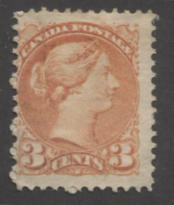 Canada #37 3c Deep Orange-Red Queen Victoria, 1870-1897 Small Queen Issue, Fine Unused Example of the Late Montreal Printing, Perf. 12 x 12.25 Brixton Chrome