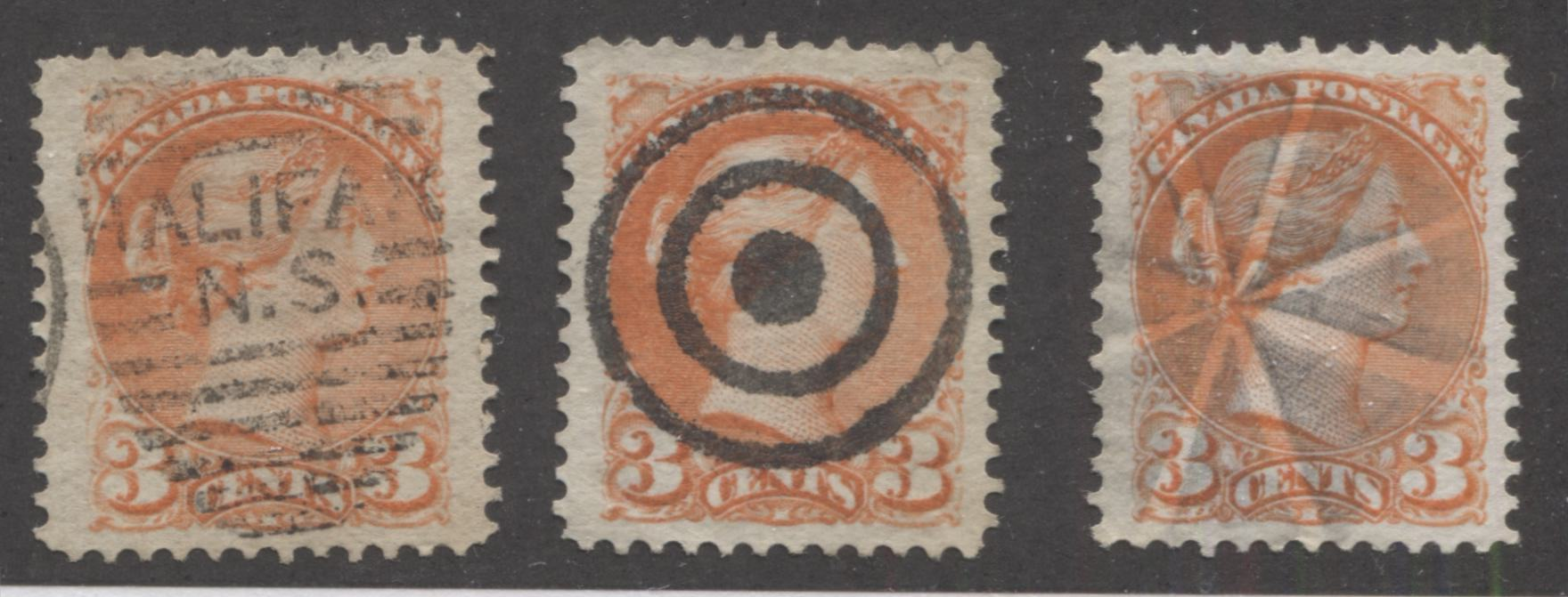 Canada #37 3c Orange Red Queen Victoria, 1870-1897 Small Queen Issue, Three Fine or Very Fine Used Examples of the Late Montreal Printing, Each Cancelled With a Different Cancellation Brixton Chrome