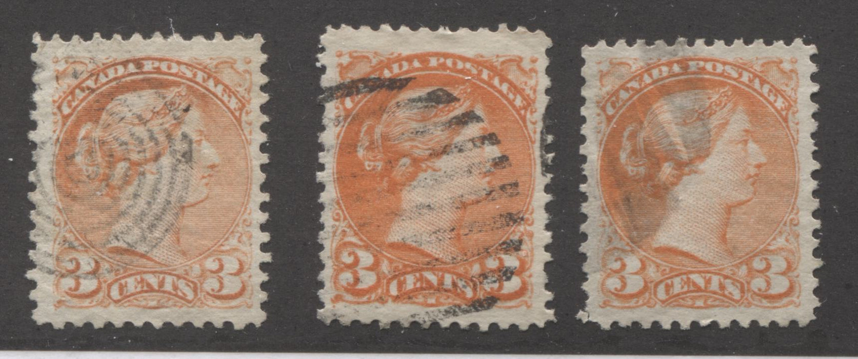 Canada #37 3c Orange Red Queen Victoria, 1870-1897 Small Queen Issue, Three Very Fine Used Examples of the Mid Montreal Printing, Each a Slightly Different Shade Brixton Chrome