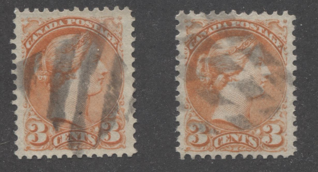 Canada #37 3c Orange Red Queen Victoria, 1870-1897 Small Queen Issue, Two Very Fine Used Examples of the Mid-Montreal Printing, Perf. 12 on Horizontal Wove Paper, Each With A Fancy Cork Cancel Brixton Chrome