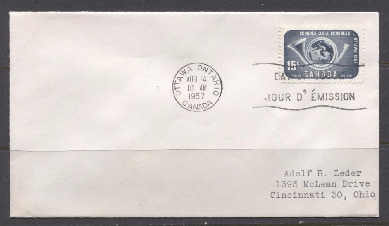 Canada #372 (SG#498) 1957 15c Blackish Blue 1957 UPU Congress Issue Addressed First Day Cover SUP-97 Brixton Chrome