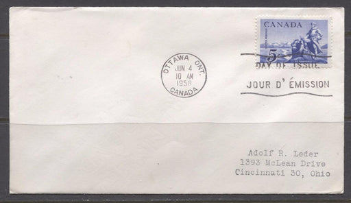 Canada #378 (SG#504) 5c Deep Ultramarine 1958 La Verendrye Issue, Addressed First Day Cover XF-90 Brixton Chrome