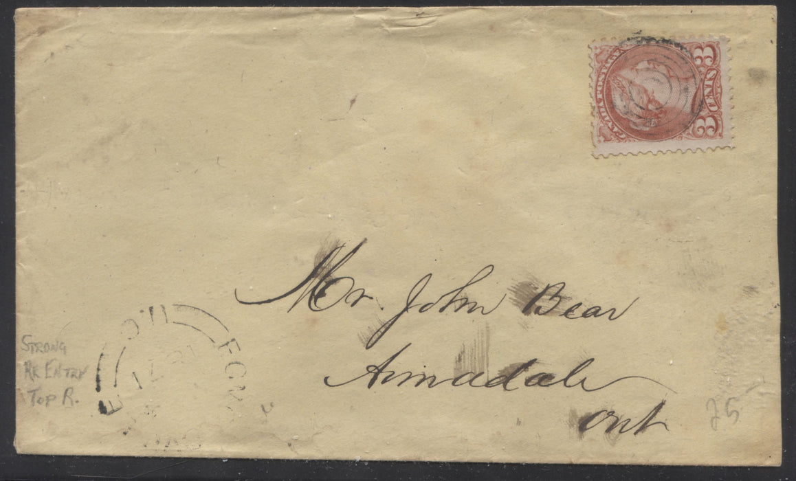 "Canada #37a 3c Rose Queen Victoria, 1870-1897 Small Queen Issue, Single Usage of the ""Rose"" Shade on a May 1871 Cover to Armadale Brixton Chrome"