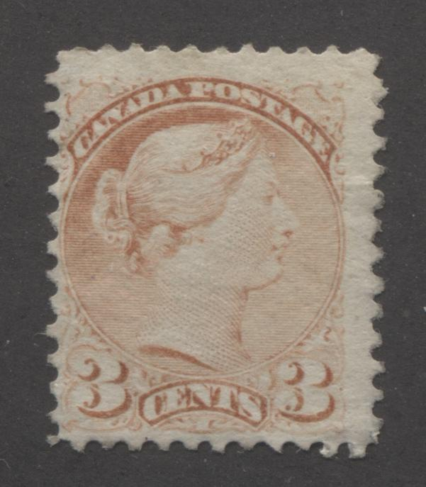 Canada #37b 3c Indian Red Queen Victoria, 1870-1897 Small Queen Issue, Fine Unused Single on Soft Horizontal Wove Paper, Perf. 12 Brixton Chrome