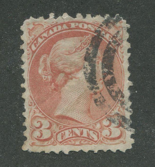 Canada #37b (SG#79) 3c Indian Red Small Queen First Ottawa Printing Vertical Wove - G-50 Used Brixton Chrome