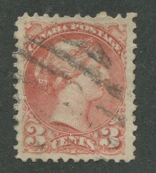 Canada #37b (SG#79) 3c Indian Red Small Queen First Ottawa Printing Vertical Wove - VF-78 Used Brixton Chrome
