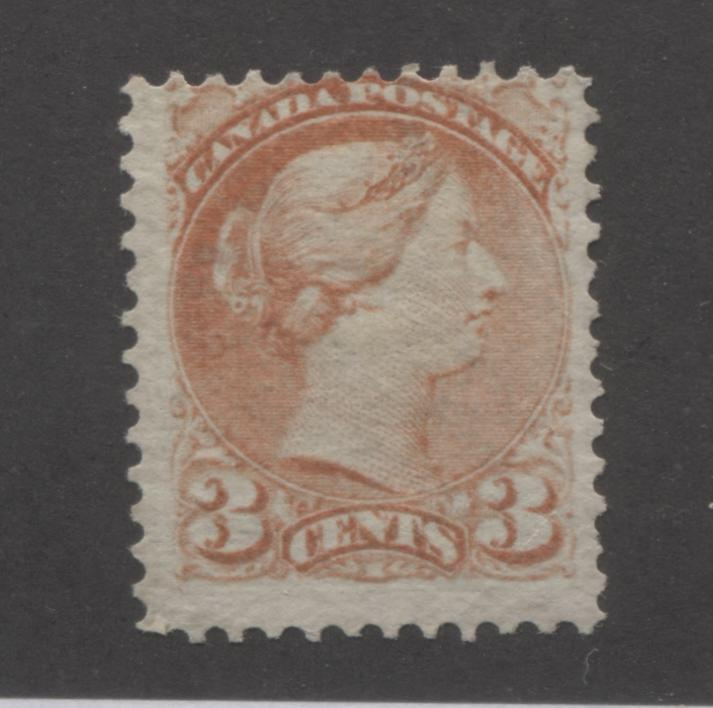 Canada #37c 3c Dull Red Queen Victoria, 1870-1897 Small Queen Issue, Very Good Unused Single of the Montreal Printing on Crisp Horizontal Wove Paper, Perf. 12.15 Brixton Chrome
