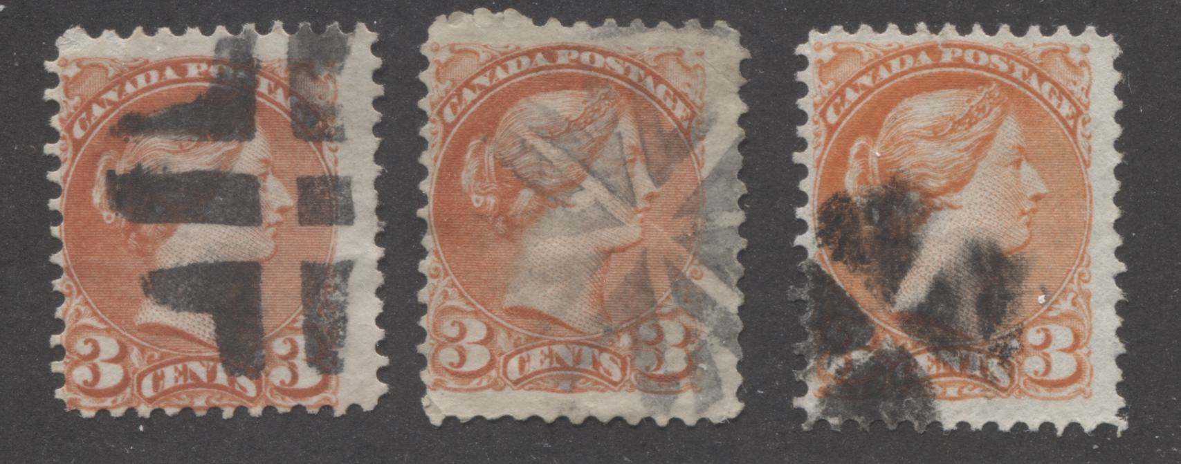 Canada #37ii, 37iii 3c Dull Red and Orange Red Queen Victoria, 1870-1897 Small Queen Issue, Three Very Good or Fine Used Examples of the Mid-Montreal Printing, Perf. 11.6 x 12 on Different Papers, Each With a Fancy Cancel Brixton Chrome