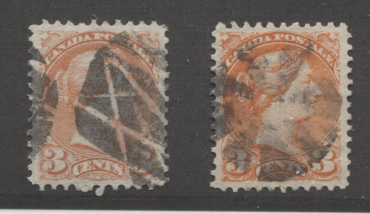 Canada #37ii, 37iii 3c Dull Red and Orange Red Queen Victoria, 1870-1897 Small Queen Issue, Two Very Fine Used Examples of the Mid-Montreal Printing, Perf. 11.75 x 12 on Soft Horizontal Wove Paper, Each With a Fancy Cancel Brixton Chrome