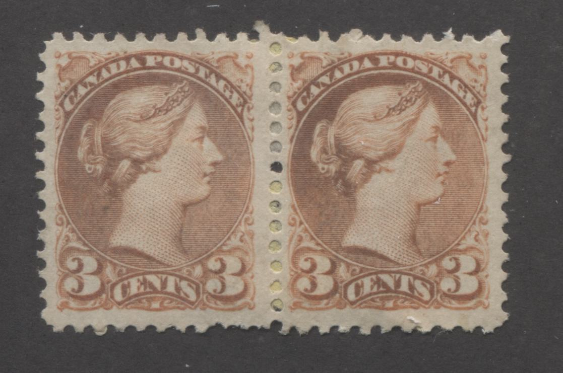 Canada #37iii 3c Orange Red Queen Victoria, 1870-1897 Small Queen Issue, Fine Unused Pair of the Montreal Printing on Vertical Wove Paper, Perf. 11.75 x 12 Brixton Chrome