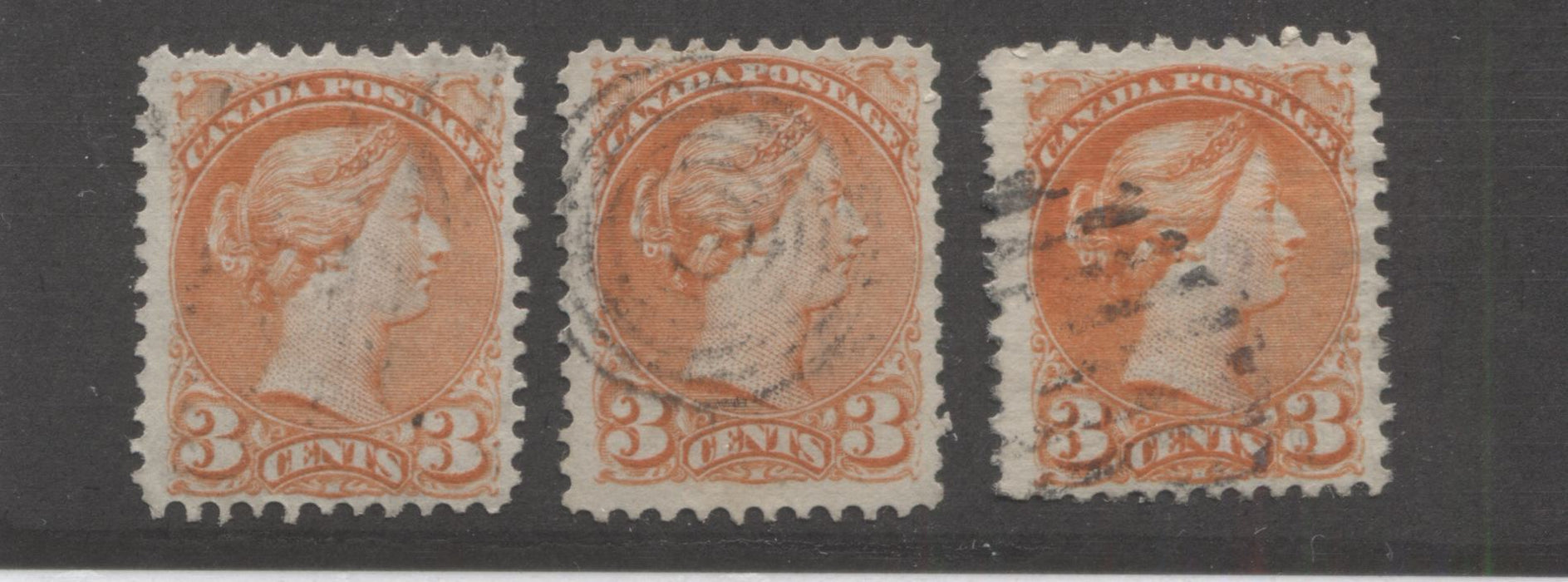 Canada #37iii 3c Orange Red Queen Victoria, 1870-1897 Small Queen Issue, Three Fine Used Examples of the Mid-Montreal Printing, Each a Different Paper or Shade Brixton Chrome