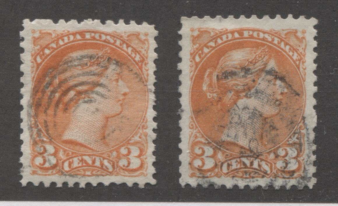 Canada #37iii 3c Orange Red Queen Victoria, 1870-1897 Small Queen Issue, Two Very Fine Used Examples of the Mid-Montreal Printing, Each a Different Paper Brixton Chrome