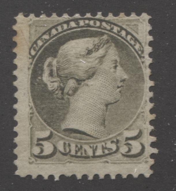 Canada #38 5c Slate Green Queen Victoria, 1870-1897 Small Queen Issue, Very Good Mint OG Example of the Montreal Printing, Perf. 12.1, on Horizontal Wove Paper Brixton Chrome