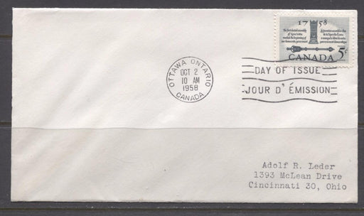 Canada #382 (SG#508) 1958 5c Slate Elected Assembly Addressed First Day Cover SUP-97 Brixton Chrome