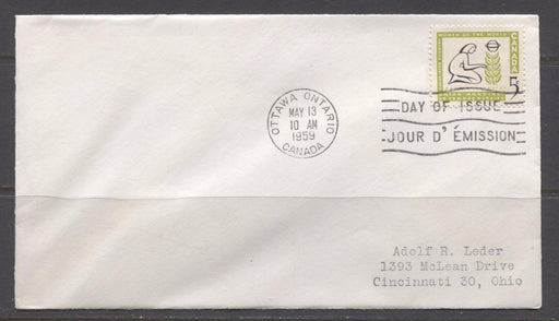 Canada #385 (SG#511) 1959 5c Country Women Issue Addressed First Day Cover XF-90 Brixton Chrome