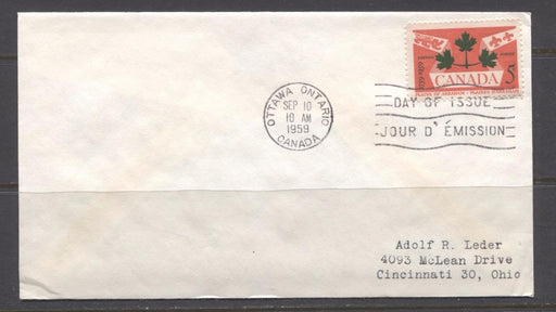 Canada #388 (SG#514) 1959 5c Plains of Abraham Issue Addressed First Day Cover VF-76 Brixton Chrome