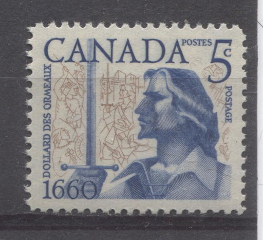 Canada #390 (SG#516) 5c Ultramarine And Bistre Brown 1960 Battle of the Long Sault Issue VF 84 NH Brixton Chrome