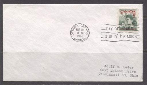 Canada #392 (SG#518) 1961 5c Emily Pauline Johnson Addressed First Day Cover XF-91 Brixton Chrome