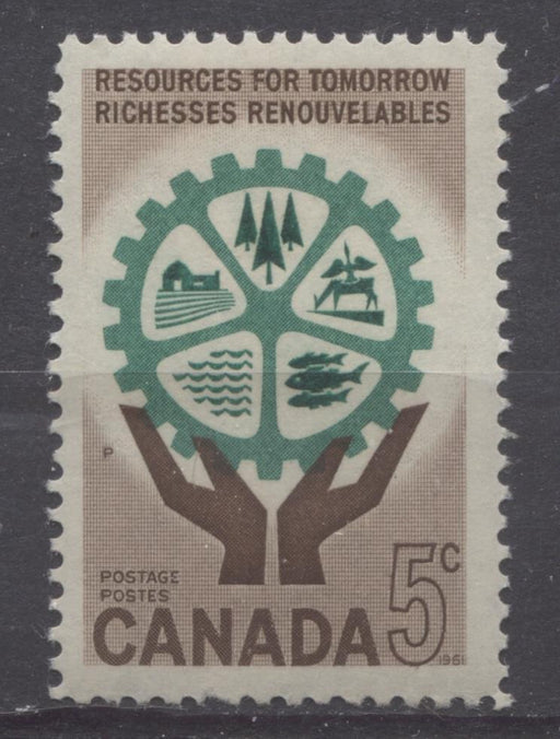 Canada #395 (SG#521) 5c Brown And Blue Green Hands And Cogwheel 1961 Resources for Tomorrow Issue VF 75/80 NH Brixton Chrome