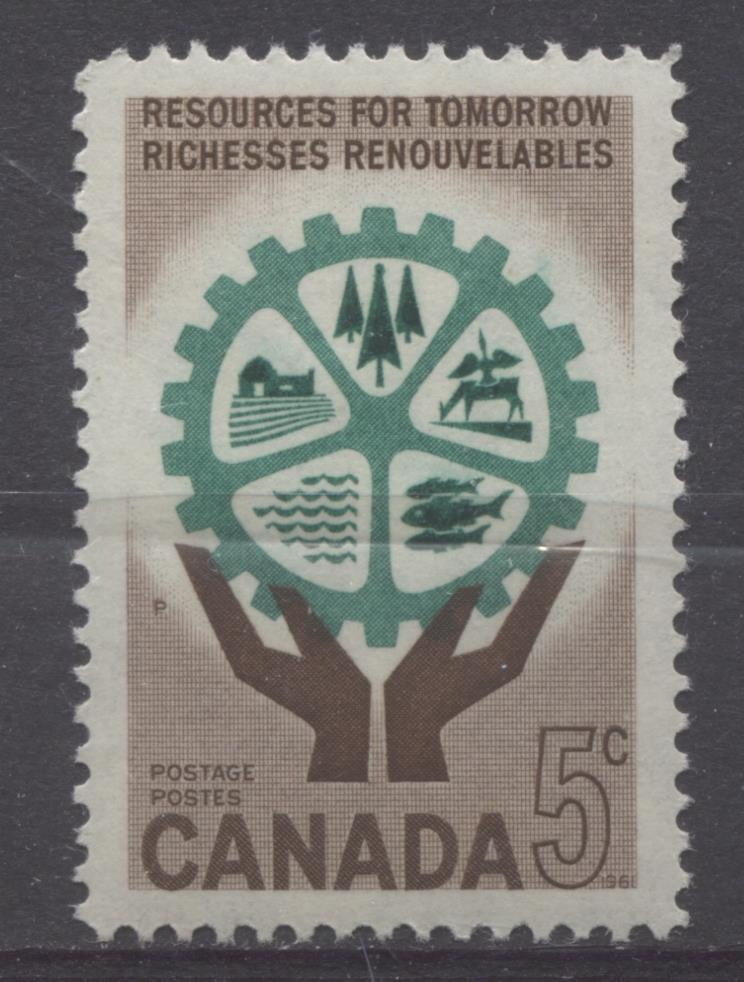 Canada #395 (SG#521) 5c Brown And Blue Green Hands And Cogwheel 1961 Resources for Tomorrow Issue VF 84 NH Brixton Chrome