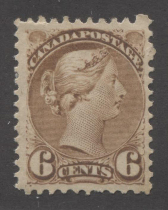 Canada #39b 6c Yellow Brown Queen Victoria, 1870-1897 Small Queen Issue, A Fine Mint Example of the Mid Montreal Printing, Perf. 11.5 x 12 Brixton Chrome