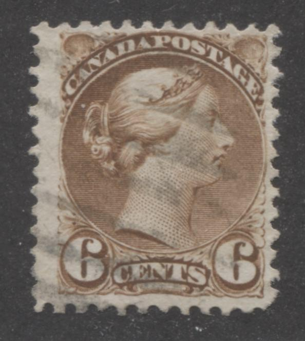 Canada #39b 6c Yellow Brown Queen Victoria, 1870-1897 Small Queen Issue, Fine Used Example of the Mid Montreal Printing, Perf. 11.6 x 12 Brixton Chrome