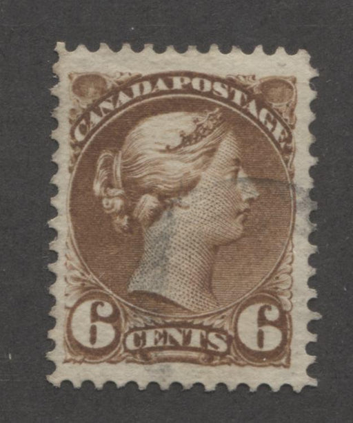 Canada #39d 6c Brown 1870-1897 Small Queen Issue, Montreal Printing, Perf. 12, Stout Wove Paper Brixton Chrome