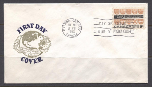 Canada #400 (SG#526) 1962 5c Trans-Canada Highway Issue Globe First Day Cover XF-85 Brixton Chrome