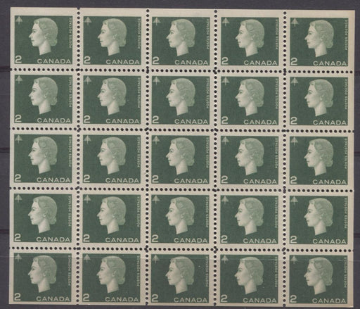 Canada #402a (SG#528) 1963 2c Green Cameo Issue Miniature Pane of 25 DF Paper VF-75 NH Brixton Chrome