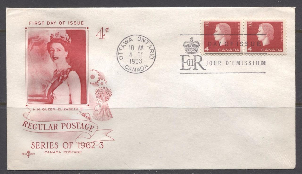 Canada #404 (SG#530) 1963 4c Cameo Issue Rose Craft First Day Cover XF-86 Brixton Chrome