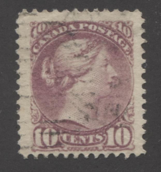Canada #40b 10c Deep Lilac Rose Queen Victoria, 1870-1897 Small Queen Issue, Fine Used Example of the Montreal Printing, Perf. 12, on Stout Horizontal Wove Paper Brixton Chrome