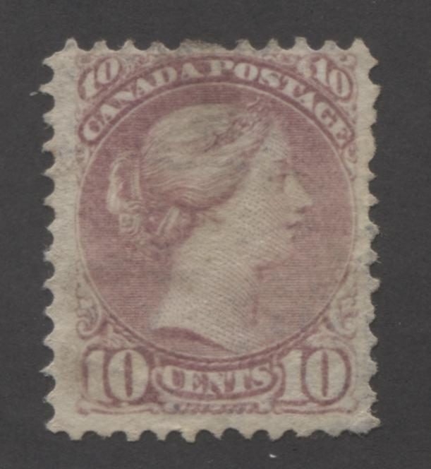 Canada #40c 10c Dull Rose-Lilac Queen Victoria, 1870-1897 Small Queen Issue, Very Good Used Example of the Mid-Montreal Printing, Perf. 11.5 x 12, on Stout Horizontal Wove Paper Brixton Chrome