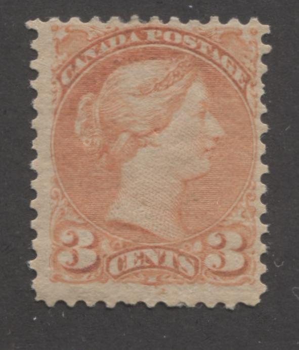 Canada #41 3c Dull Orange-Vermilion Queen Victoria, 1870-1897 Small Queen Issue, Fine Mint OG Example of the Second Ottawa Printing on Newsprint-Like Paper, Perf. 12 Brixton Chrome