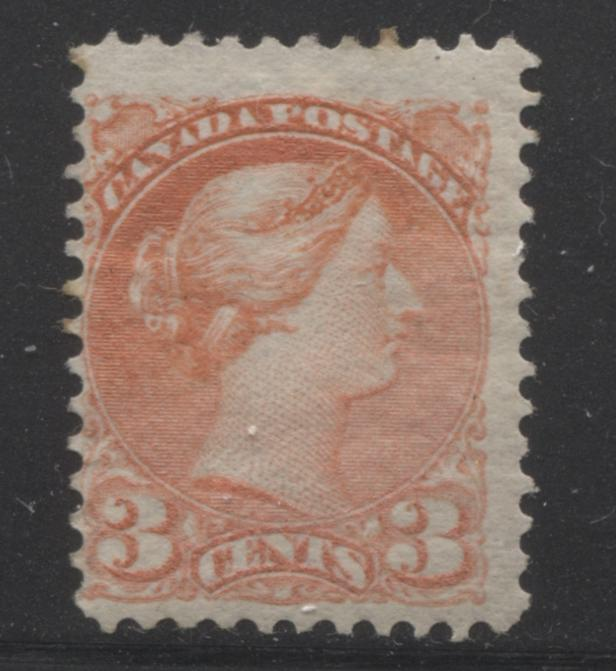 Canada #41 3c Dull Vermilion Queen Victoria, 1870-1897 Small Queen Issue, Very Good Mint Part OG Example of the Second Ottawa Printing, Perf. 12 x 12.1 Brixton Chrome