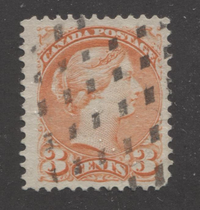 Canada #41 3c Orange Vermilion Queen Victoria, 1870-1897 Small Queen Issue, A Very Fine Used Example of the Second Ottawa Printing, Perf. 12 x 12.25 On Soft Wove, With a Diamond Dotted Cancel Brixton Chrome